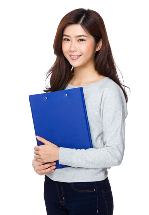 Asian lady with file pad